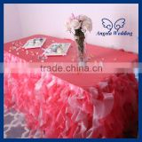 CL010DA Party organza ruffled curly willow frilly hot pink and light pink fancy wedding table cloths