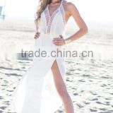 White Halter Long Beach Dresses Sexy Backless Summer Beach Cover Up Sleeveless Hollow Out Long Dress MX-AU104