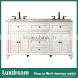 "Antique 60"" solid wood cabinet with creamy white finish bathroom vanity"