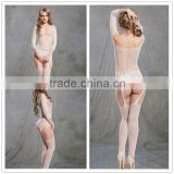Latest design half sleeve sexy women bodystockings white beautiful girls sexy lingerie