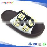 Fashion hot sale two buckles design sublimation beach flip flop slippers boys steel toe slipper
