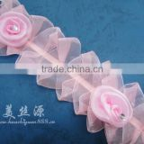 elegant bead belt ribbon custom chiffon flower lace trimming for home textile beaded lace fabric lace ribbon