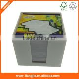white memo pad in plastic holder, blank notepads in printing box