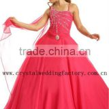 Free shipping wholesale one shoulder beaded red little girls ball gown dresses CWFaf5267
