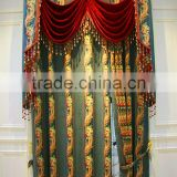 Antique Style Embroidered Organza Fabric Living Room Colorful Curtains With European Style Valances