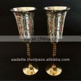2014 Hot design gift low price metal wine glass gold and silver plated goblets