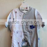 Wholesale Latest Style New Born Baby Clothing Set Winter Long Sleeve Grey 6 Pcs Set With Hanger Package 6TB1-56