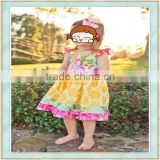 Wholesale boutique tutu dress fashion flutter sleeve floral print bikini girl school baby summer clothes