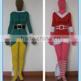 wholesale adult and kids lycra spandex Christmas elf zentai costume