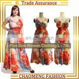 5026# Curvy Lace Embroidery Printed Floral Maxi Long Beach Wear Summer Bohemian Dress Women Clothing Big Plus Size