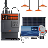 PAYGo Pay As You Go Solar power Home Kit with 4 LED Lights Solar DC TV and Mobile Phone Charging 40W