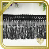 Wholesale decorative black rayon tassel fringe trim for dress FT-010