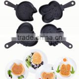 Mini cast iron single handle pre-seasoned cartoon cake pan non-stick cast iron cookware set