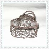 antique decorative heart-shape iron wire basket with handle