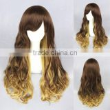 High Quality 65cm Medium Long Wave Blond&Gold Mixed Lolita Synthetic Anime Wig Party Wig