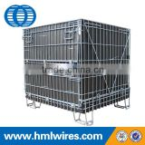 Galvanized stacking wire foldable mesh container