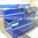 APEX supermarket two layers angle shaped side tank display glass fish tank /aquarium tank