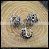 LFD-0047B Wholesale Smile Druzy Drusy Quartz Stone Pave Rhinestone Connector Spacer Beads Jewelry Finding