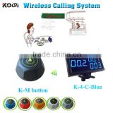 wireless waiter call system for restaurant with K-4-C-Blue led digital receiver and K-M table button for customer