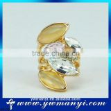 China factory direct supply stylish opal crystal fashion gold glitter stone rings wholesale R0139