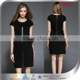 latest fashion career professional dresses short sleeve black knee length office dress designs for women