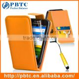 Set Screen Protector Stylus And Case For Samsung Galaxy Ace S5830 , Orange Leather Wallet Phone Case Accessory