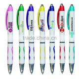 Wholesale Retractable Plastic Awareness Ribbon Grip Ballpoint Pens with Full Color Digital Custom Logo Printed for Promotion