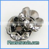 Wholesale 8mm Rondelle Spacer Beads Gunmetal Alloy CZ Clear Crystal Rhinestone Findings For Basketball Wives Jewelry RRS-A002A