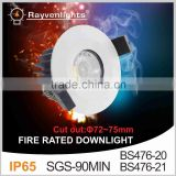 5 years warranty SGS 90Min Approval CHROME IP65 10w fire rated led downlight                                                                         Quality Choice