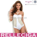 2016 RELLECIGA White One-Piece with Push-Up Molded Foam Cup and Golden Foil Net Yarn