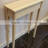 "Unfinished solid wood 24"" narrow table with tappered legs wall,foyer,sofa,console,hall table"