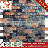 brown mixed black color stripe glass mosaic tile