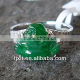 Hot Sale Picturesqueness 18K Gold Diamond Jade Stone Ring