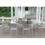 Hotel aluminum brushed wood furniture, garden outdoor furniture sofa set, high quality wood dining set