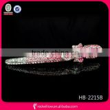 Hot sale elegant pink rhinestone bow snap hair clips