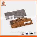 Jeans pu leather labels garments leather back patch labels fashion label for hats