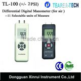 TL-100 dual ports + / - 2PSI Differential Pressure Digital Manometer with 11 units for air pressure measurement