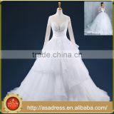 ASAP-13 Pleats Tiered Ruffles Sequins Appliques Sheer Long Sleeves Ball Gown Vintage Wedding Dresses                                                                         Quality Choice