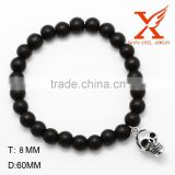 2016 Trending Black Lava Matte Agate Mens Stainless Steel 8MM Bead Bracelets with Skull