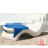Innovative curved armrest designed hotel used outdoor sun furniture viro wicker/rattan chaise lounge in s shape