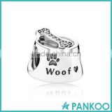 Wholesale dog bowl silver charm beads with white CZ 925 sterling silver floating charms locket of dog bone shape