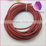 dark red color real leather cord 3.0mm braided cord for bracelet