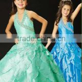 2013 halter beaded tiered blue custom-made ball gown junior girls pageant dresses CWFaf4670