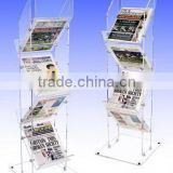 6-tier zig-zag Acrylic Brochure Display Stand/ book exihbitor