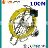 100M Self Level Video Endoscope Sewer Pipe Inspection Camera Drain Cleaning Equipment Built-in 512 HZ Transmitter,Meter Counter