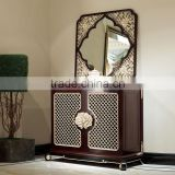 Chinese style living room furniture solid wood floral hand carving console table with mirror