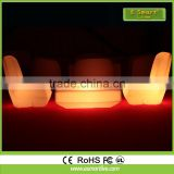 Plastic outdoor bar furniture LED curved plastic chairs with RGB 16 color changing