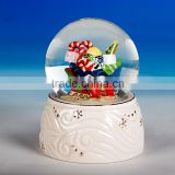 diameter 65mm colorful interior view with resin light pink base hand-painting custom snow globe