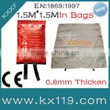 100%Fiberglass fireproof blanket High temperature Insulation 1.5M*1.5M in soft bags