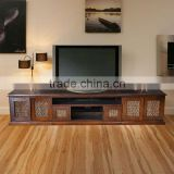 Sideboard tv with WATERHYACINTH DOOR brown teak wood furniture
